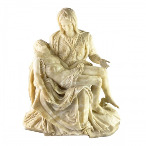 Alabaster sculpture of the pieta. French or Italian, 17th century.