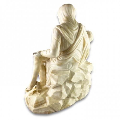 17th century - Alabaster sculpture of the pieta. French or Italian, 17th century.