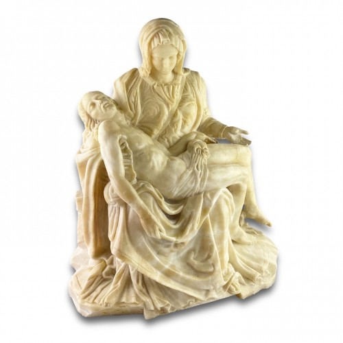Alabaster sculpture of the pieta. French or Italian, 17th century. -