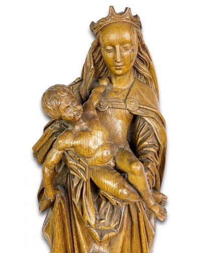 Oak sculpture of the virgin & child. Northern France, early 16th century. - Sculpture Style