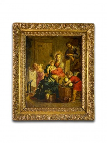 The holy family with putti. Flemish, 17th century