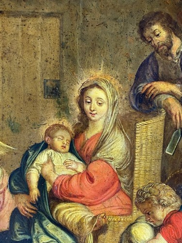 The holy family with putti. Flemish, 17th century -