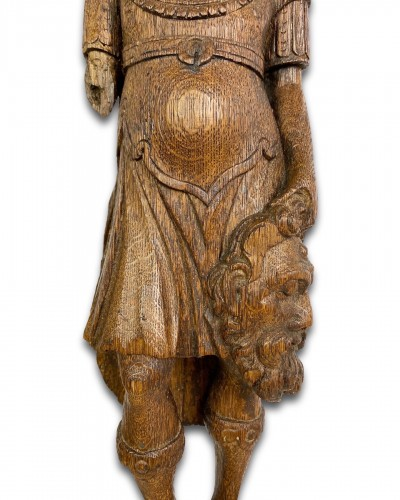 Oak term with a figure of David & Goliath. Flemish, 17th century. -