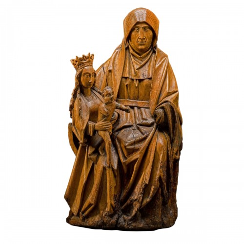 Oak sculpture of The Virgin & Child with Saint Anne. Brabant, circa 1500.