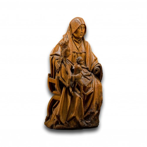 Oak sculpture of The Virgin & Child with Saint Anne. Brabant, circa 1500. - Sculpture Style