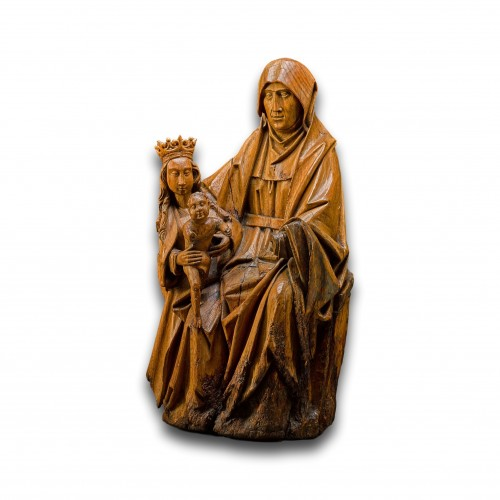 Oak sculpture of The Virgin & Child with Saint Anne. Brabant, circa 1500. -