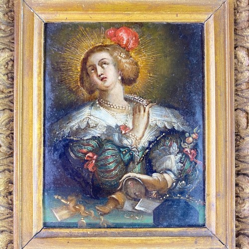 Oil on copper cabinet painting of Mary Magdalene. Flemish, 17th century. - Paintings & Drawings Style