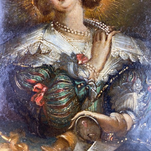 Oil on copper cabinet painting of Mary Magdalene. Flemish, 17th century. -