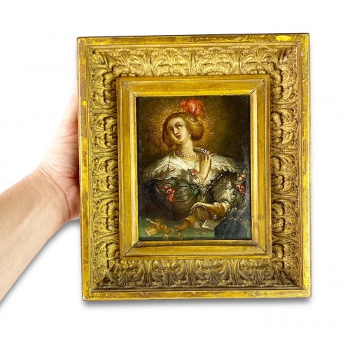 Antiquités - Oil on copper cabinet painting of Mary Magdalene. Flemish, 17th century.