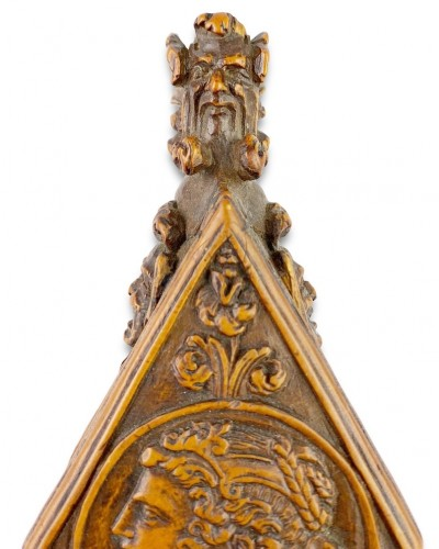 - Fruitwood flask with portraits & beasts. French, late 16th century.