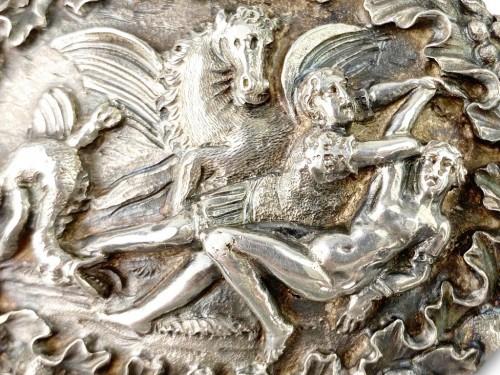 - Repoussé silver box. Italian, late 17th century.