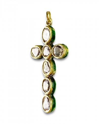 Diamond set gold & enamel cross. Indian, early 20th century. - Antique Jewellery Style