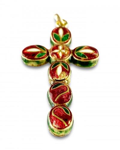 - Diamond set gold & enamel cross. Indian, early 20th century.