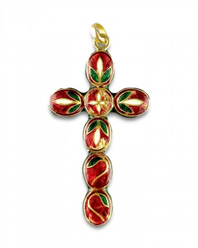 Antiquités - Diamond set gold & enamel cross. Indian, early 20th century.