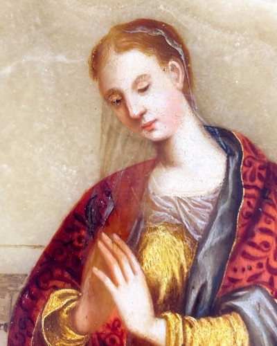 Paintings & Drawings  - Alabaster painting of Saint Catherine. Florentine, 17th century.