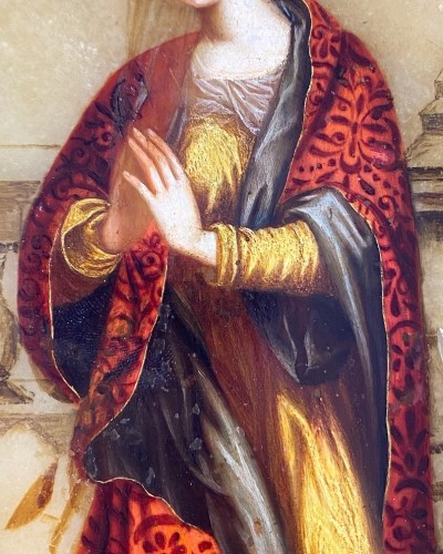 17th century - Alabaster painting of Saint Catherine. Florentine, 17th century.