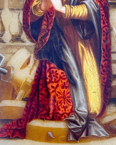 Antiquités - Alabaster painting of Saint Catherine. Florentine, 17th century.