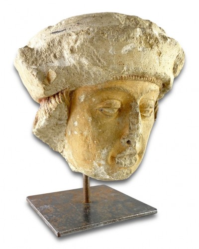A stone head of a male saint. Champagne, late 15th century. - Sculpture Style