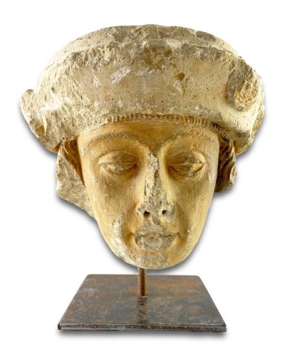 Sculpture  - A stone head of a male saint. Champagne, late 15th century.