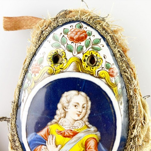 Purse with enamel plaques of Louis XV & Marie Leczinska. Limoges, c.1725. -