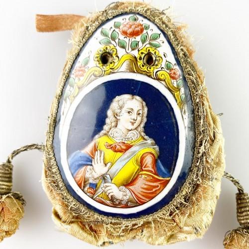 Antiquités - Purse with enamel plaques of Louis XV & Marie Leczinska. Limoges, c.1725.