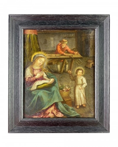 An oil on copper interior scene of the holy family. Flemish, 17th century.