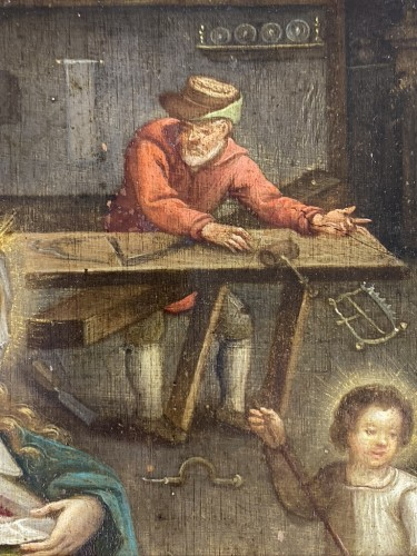 An oil on copper interior scene of the holy family. Flemish, 17th century. - Paintings & Drawings Style