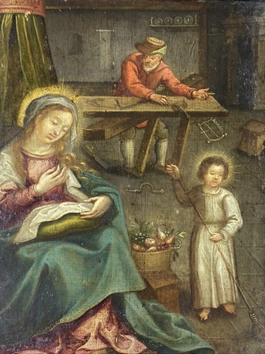 - An oil on copper interior scene of the holy family. Flemish, 17th century.