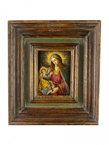 Cabinet painting of the virgin & child. Spanish, mid 17th century.