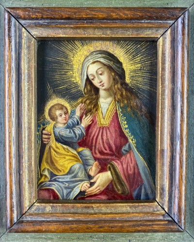 Paintings & Drawings  - Cabinet painting of the virgin & child. Spanish, mid 17th century.