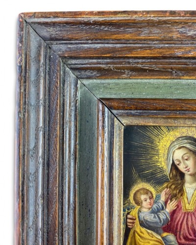 Cabinet painting of the virgin & child. Spanish, mid 17th century. -