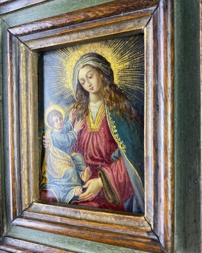 17th century - Cabinet painting of the virgin & child. Spanish, mid 17th century.