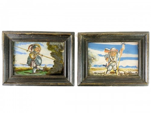 Reverse glass paintings of dwarf soldiers. French, late 18th century.