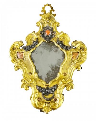 Ormolu coral mirror. Italian, mid 18th century.