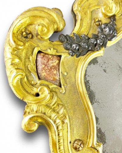 Ormolu coral mirror. Italian, mid 18th century. -