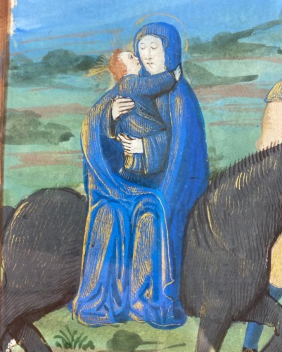 Flight into Egypt manuscript page. French, possibly Paris, 16th century. - Religious Antiques Style