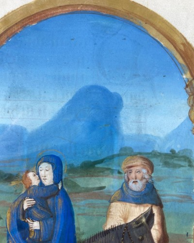<= 16th century - Flight into Egypt manuscript page. French, possibly Paris, 16th century.