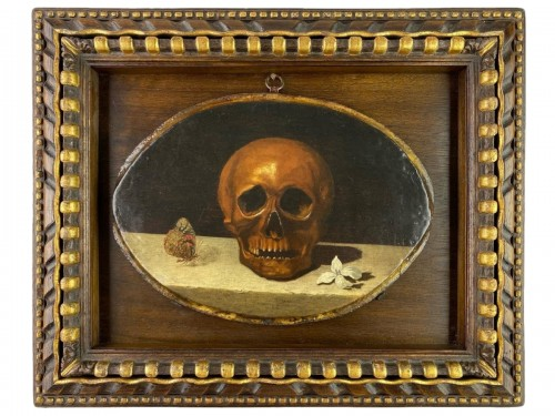 Vanitas painting, manner of Philippe De Campaigne. French, 17th century.