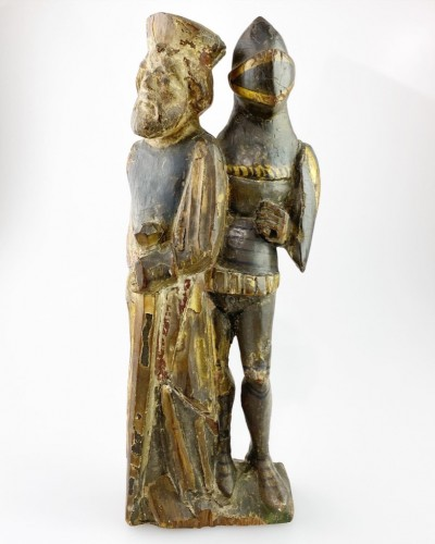 Retable of two knights, Flemish, early 16th century - Sculpture Style