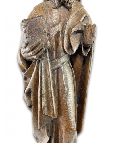 Antiquités - Oak relief of a male saint. Northern Germany, early 16th century
