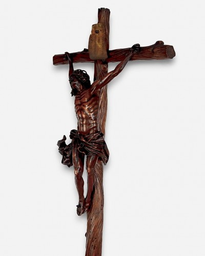 17th century - A fine boxwood crucifix with the dying christ. Italian, 17th century