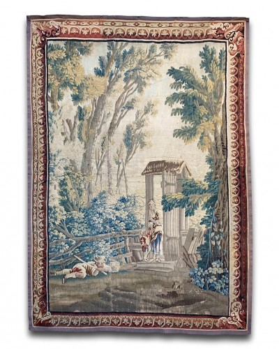Pastoral tapestry family in a woodland garden. Aubusson, c.1760-1770.