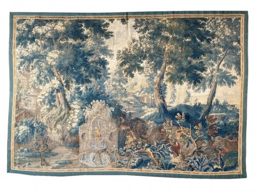 Verdure garden landscape tapestry with a fountain. Flemish, c.1680.