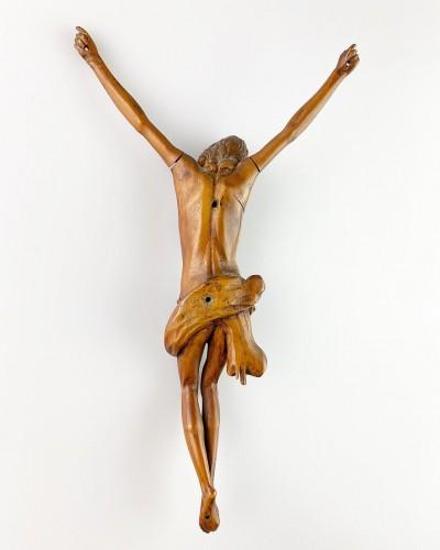 Sculpture  - Fruitwood Corpus Christi. French, mid 17th century.