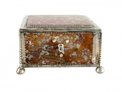 Silver moss agate casket. South German, late 17th century.