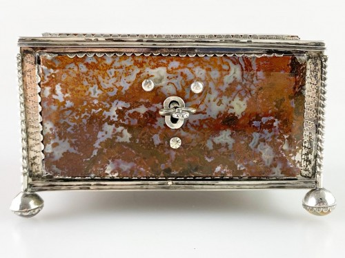 Silver moss agate casket. South German, late 17th century. -