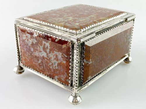 - Silver moss agate casket. South German, late 17th century.