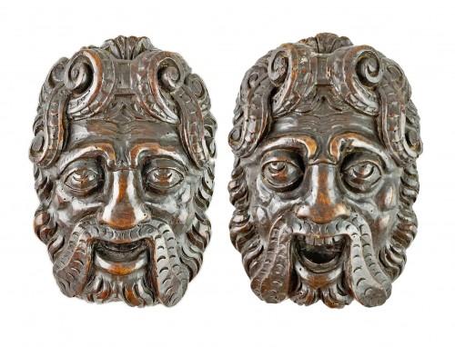 Pair of Renaissance masks of warriors. Italian, late 16th century.