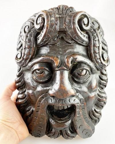 Pair of Renaissance masks of warriors. Italian, late 16th century. -