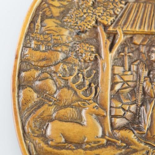 Religious Antiques  - Boxwood relief of Saint Mildred. German, 16th century.